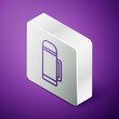 Isometric line Thermos container icon isolated on purple background. Thermo flask icon. Camping and hiking equipment. Silver square button. Vector Illustration.