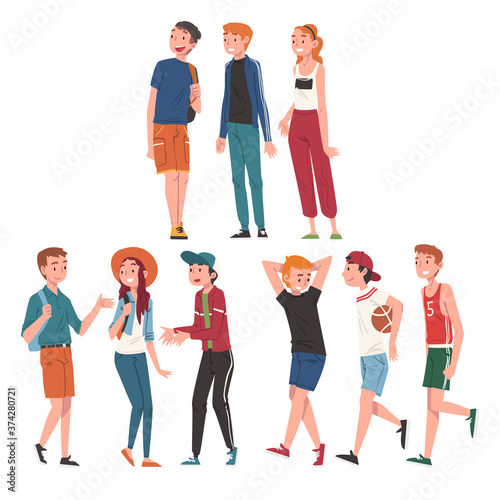 Happy Teenage Boys and Girls Set, Cheerful Students, Classmates or Friends Characters Cartoon Style Vector Illustration