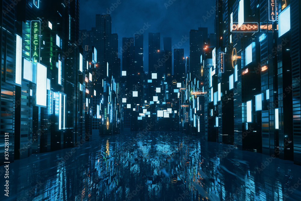 Fototapeta 3D Rendering of billboards and advertisement signs at modern buildings in capital city with light reflection from puddles on street. Concept for night life, never sleep business district center (CBD)