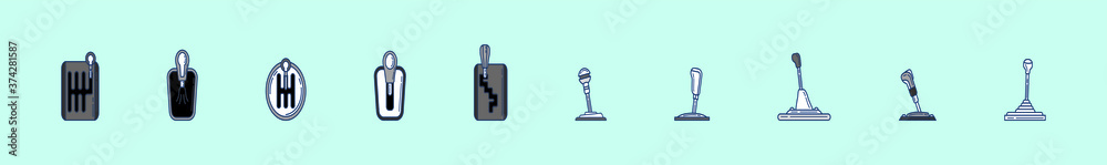 Fototapeta gear box, stick shift with various models. isolated vector illustration on blue background