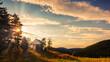 canvas print picture - Abendstimmung über den sanften Hügeln des Erzgebirges. UNESCO Welterbe und Montanregion Erzgebirge im Sonnenuntergang.