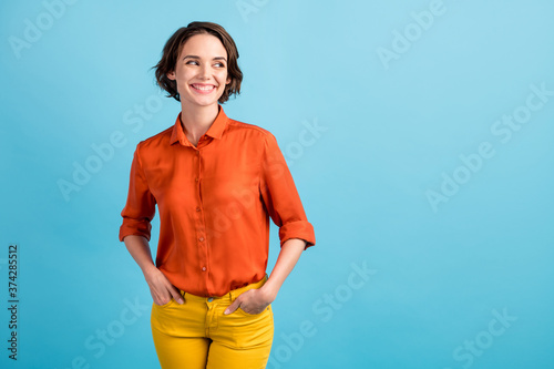 Photo of pretty charming lady bob hairdo good mood cute appearance look side emp Canvas