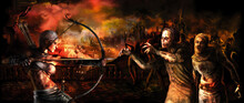 Fantasy Zombie Apocalypse Banner/ Survival Archer Girl Attacks A Zombie Crowd. Destroyed Burning Medieval City In The Background. Digital Painting