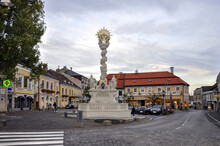 Marian And Holy Trinity Column Or The Plague Column (German: Pestsäule) In Mödling - A Town And Capital Of The Austrian District Of The Same Name Located Approximately 14 Km South Of Vienna.