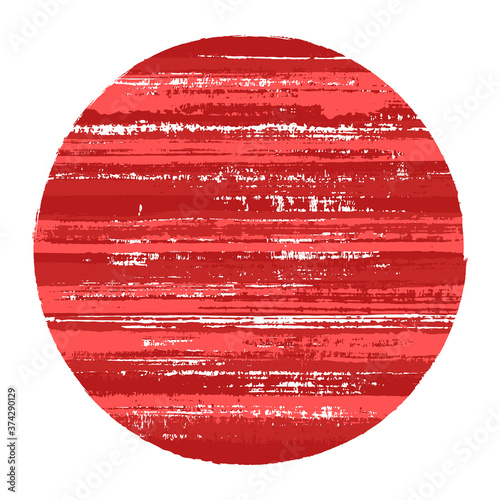 Obraz na plátne Abstract circle vector geometric shape with striped texture of ink horizontal lines