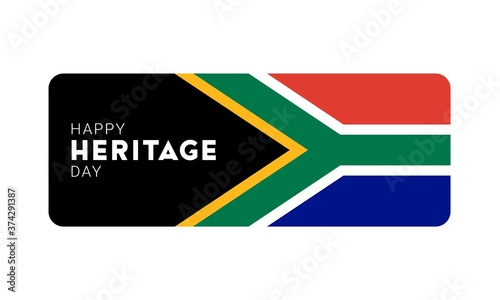 Tela Happy Heritage Day - 24 September - horizontal banner template with the South African flag and text isolated on white