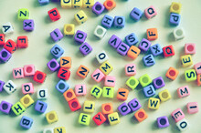Top View Of Colored Alphabet S...