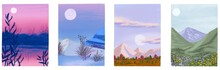 Set Of Posters For Winter, Spr...
