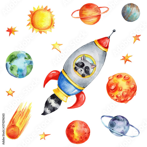 Photo Cartoon spaceship with raccoon and planets, sun and stars; watercolor hand draw