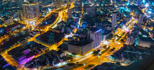 Night Cityscape From Above With Lightstreet Riverside Create Shimmering Nocturnal Beauty City Developing Dynamically In Ho Chi Minh City, Vietnam