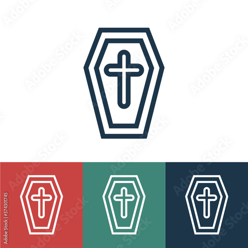 Linear vector icon with grave Wallpaper Mural