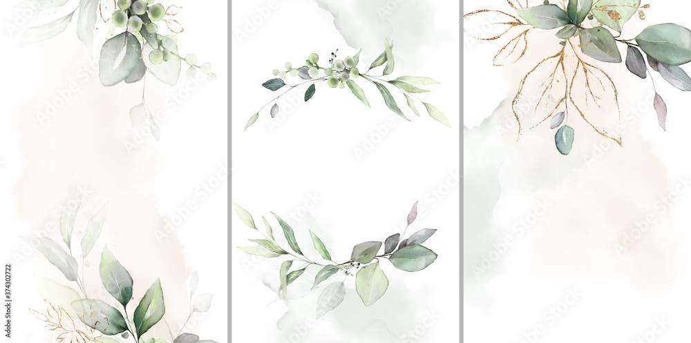 Fototapeta Ready to use Card. Herbal Watercolor invitation design with leaves. tropical watercolor background.  botanic illustration. Template for wedding.   frame