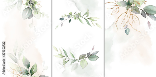Ready to use Card. Herbal Watercolor invitation design with leaves. tropical watercolor background.  botanic illustration. Template for wedding.   frame