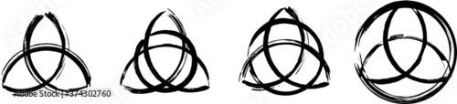 Obraz Triquetra The Power Of Three From Ancient Celtic History. Set Of The Celtic Symbols. Black ink handwriting. Vector	 - fototapety do salonu