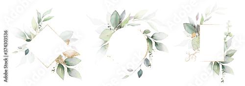 Papel de parede Watercolor invitation Card design with leaves