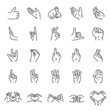 Hand Gestures, Icon Set. Finge...