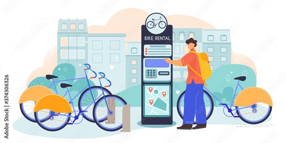 Fototapeta Bicycle Rental Flat Composition