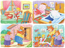 Goldilocks And The Three Bears. Fairy Tale.  Four Pictures From Series. Coloring Book. Educational Book. Illustration For Children. Cute And Funny Cartoon Characters