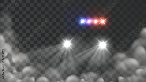 Fotografie, Obraz Police Car Light And Blink Siren In Fog Vector