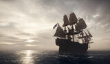 Pirate ship sailing on the ocean. Stormy clouds