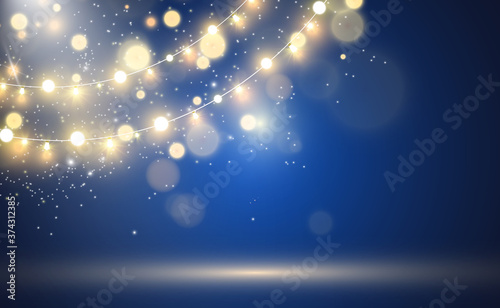 Fotografie, Obraz Christmas bright, beautiful lights, design elements