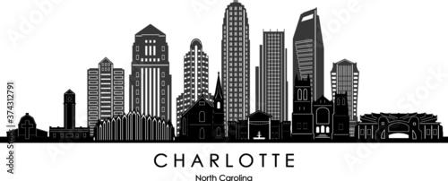 Fotografia, Obraz CHARLOTTE  City North Carolina Skyline Silhouette Cityscape Vector
