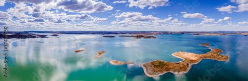 Aerial view of Alqueva Dam artificial Lake, near aldeia da luz, Alentejo tourist destination region, Portugal Billede på lærred