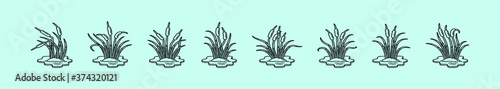 Fotografia, Obraz a set of various cattails plants icon design templates