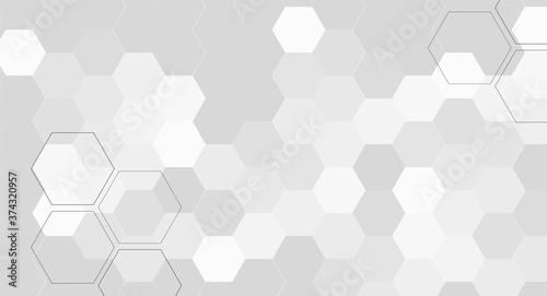 Obraz na plátně Bright white abstract hexagon wallpaper or background