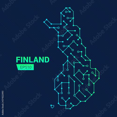 Fotografie, Obraz Abstract futuristic map of Finland