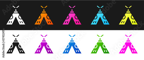 Set Traditional indian teepee or wigwam icon isolated on black and white background Canvas