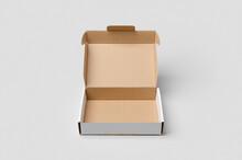 Cardboard Postal, Mailing Box Mockup With Opened Lid.
