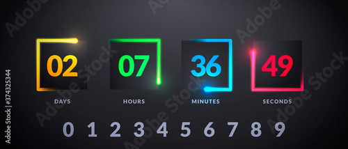 Vector Illustration Modern Futuristic Counter. Countdown With Colorful Lights On Dark Background