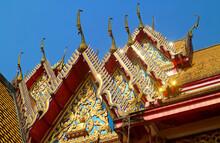 Ornate Decoration Of Thai Buddhist Temple Roof Wat Wang Wiwekaram, Sangkhlaburi District, Thailand