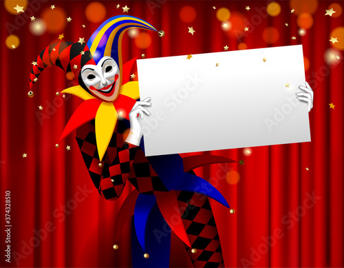 Fotografie, Obraz Joker holding a white banner in the hands against a red curtain