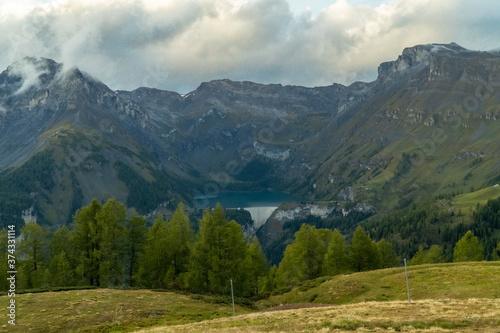 Fototapeta Valais, Sierre, Switzerland. September 24, 2019: Lac de Tseuzier