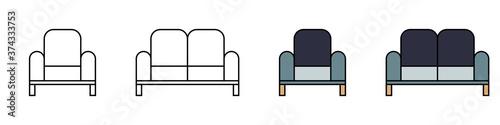 Fototapeta Conjunto de sillas. Mueble. Ilustración vectorial estilo plano