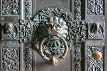 Lion Head Door Knocker Made Of Brass At Hohenzollern Castle, Germany
