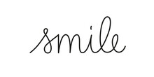 Smile Phrase Handwritten By One Line. Mono Line Vector Text Element Isolated On White Background.