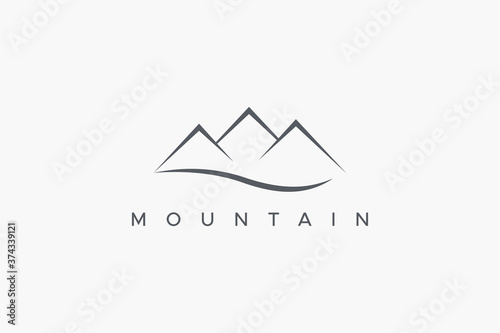 Obraz na plátně Abstract Mountain Logo with River Wave isolated on White Background