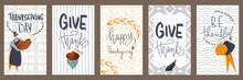 Cute Cozy Rectangular Postcard Set Autumn Thanksgiving Day. Textured Flat Digital Art. Print For Sticker, Banner, Menu, Wrapping Paper, Textiles, Adhesive Tape