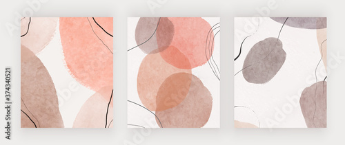 Fototapeta Freehand abstract mid century backgrounds for wall art, invitation