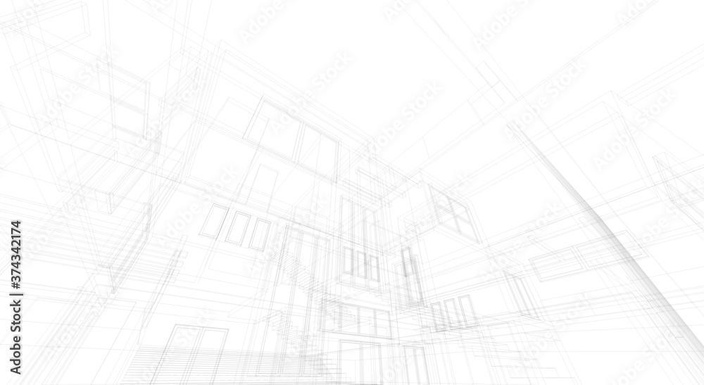 Fototapeta House building architectural concept 3d