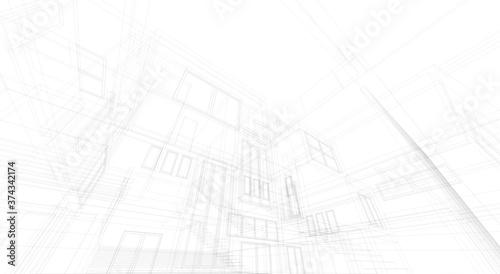 House building architectural concept 3d Fototapeta