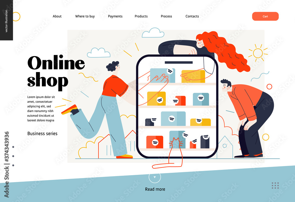Fototapeta Business topics -online shopping, web template, header. Flat style modern outlined vector concept illustration. Tablet, shop shelves, boxes. People taking and looking at the goods. Business metaphor