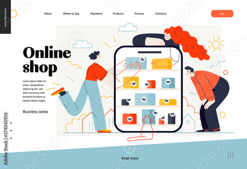 Obraz Business topics -online shopping, web template, header. Flat style modern outlined vector concept illustration. Tablet, shop shelves, boxes. People taking and looking at the goods. Business metaphor - fototapety do salonu