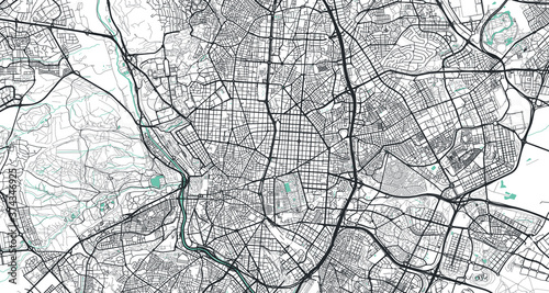 Fotografía Detailed vector map of Madrid, Spain