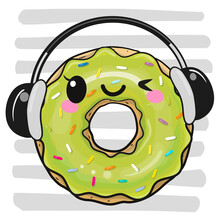 Cartoon Donut With Headphones ...