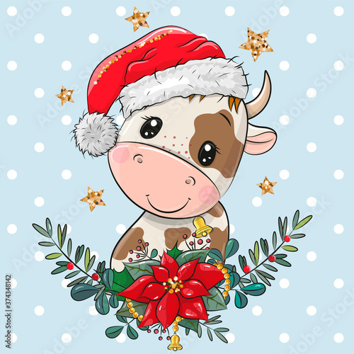 Cartoon Bull in Santa hat with christmas wreath