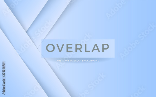 Photo Abstract overlap layer on blue white background